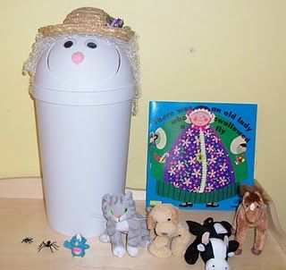 """Old Lady who swallowed a fly! Make her with a flip lid trash can. When it gets to each item in the reading of the book, then kids """"feed"""" the old lady! such a fun idea"""