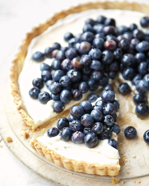 Try this Blueberry-Ricotta Tart for a guilt-free treat, Wholeliving.com #healthy #desserts