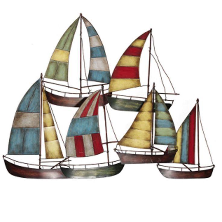 Metal Wall Decor Sailboats : Metal sailboat wall decor nautical