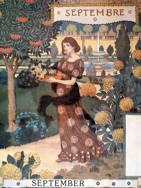 "September,  Eugène GRASSET Calendrier ""La Belle Jardinière"" 1896"