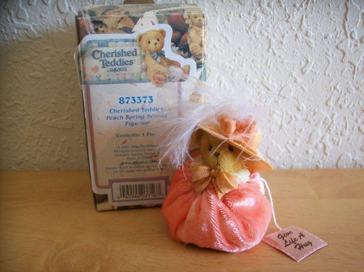 """2001 Cherished Teddies """"Peach Spring Bonnet"""" Figurine"""