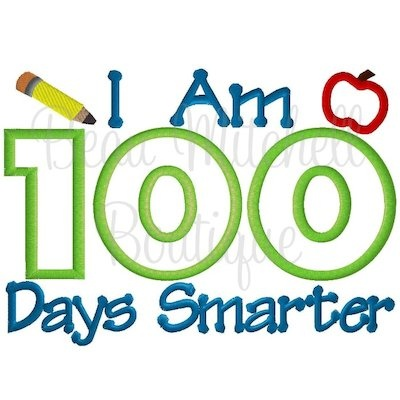 100 Days I am smarter - $5 | Embroidery Designs | Pinterest