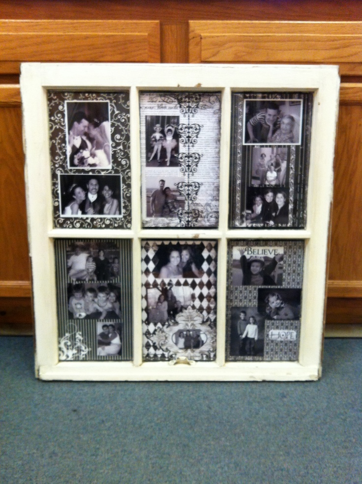 Old window picture frame craft projects pinterest for Old picture frame projects