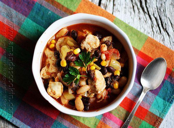 Chicken Chili with Black Beans & Corn @amandaformaro Amanda's Cookin&...