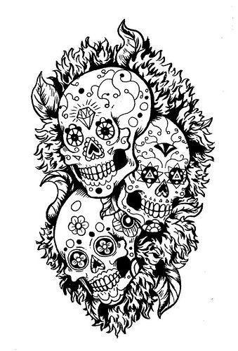 Pinterest discover and save creative ideas for Sugar skull mandala coloring pages
