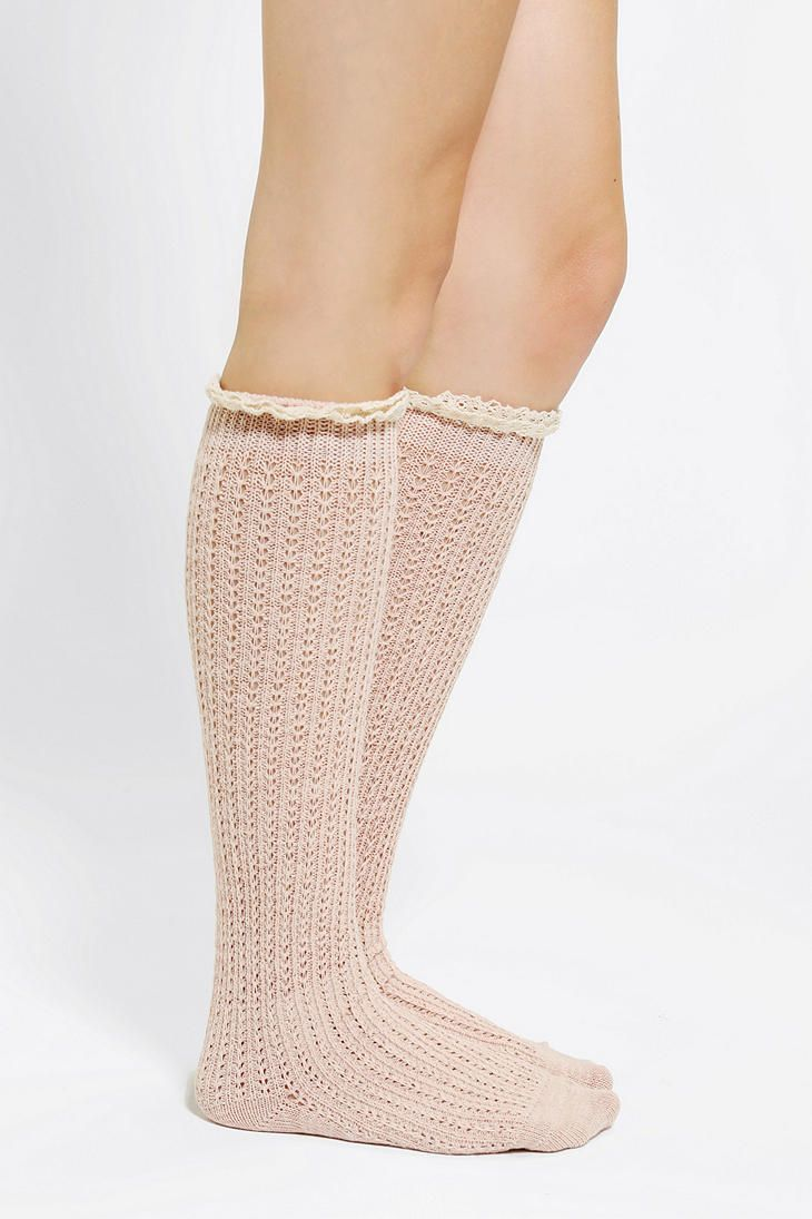 Crochet Lace-Cuff Knee-High Sock fashion Pinterest