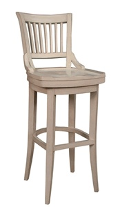 White wooden swivel barstool