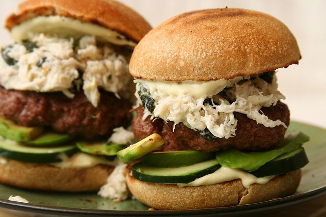 California Roll Burgers. Like the Sushi. With king crab, avocado, and ...