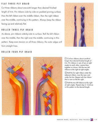 Ribbon braids-- How to braid 4 ribbons