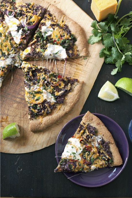 Mexican Black Bean Pizza. Cheddar and mozz, salsa, black beans, limes ...