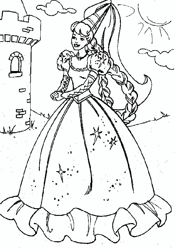 rapunzel barbie coloring pages - photo#3