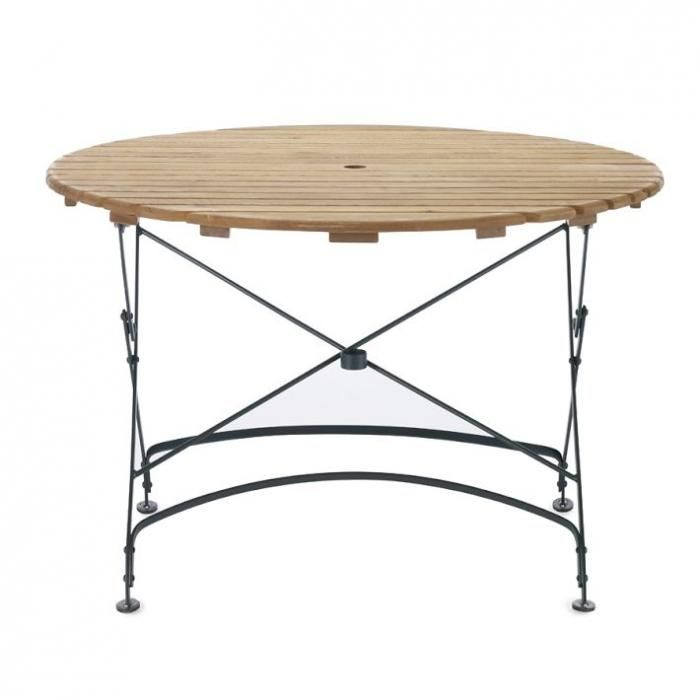 round table has a dark green powder coated steel frame and a wood top