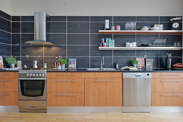 large tile backsplash kitchen dining room