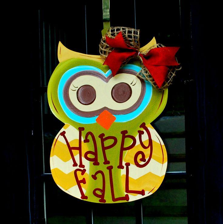 Fall Wreath, Door Hanger Fall, Autumn Owl Door Decoration  ~ 102409_Halloween Owl Door Hanger