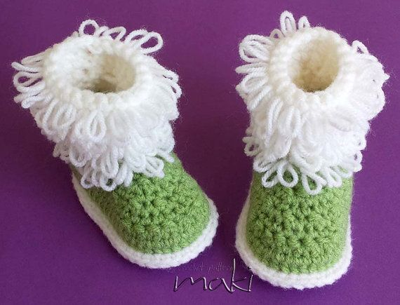 Crochet Patterns Loop Stitch : Baby crochet boots pattern - Instant download - Loop stitch - No sewi ...