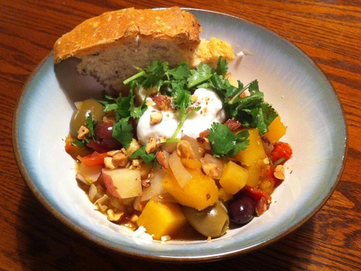 Moroccan Butternut Squash Chickpea Stew Recipe — Dishmaps