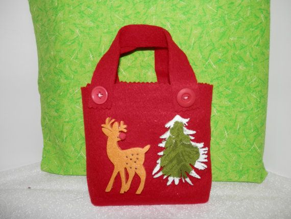 Felt christmas bags gift decorations tote small handmade bags candy