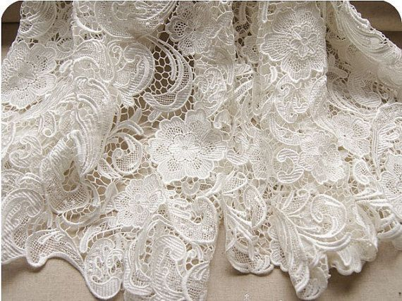 Graceful White Venice Lace Fabric Crocheted Hollowed Out Fabric 35 ...