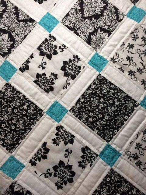 Soft and cuddly baby patchwork quilt black white and teal by