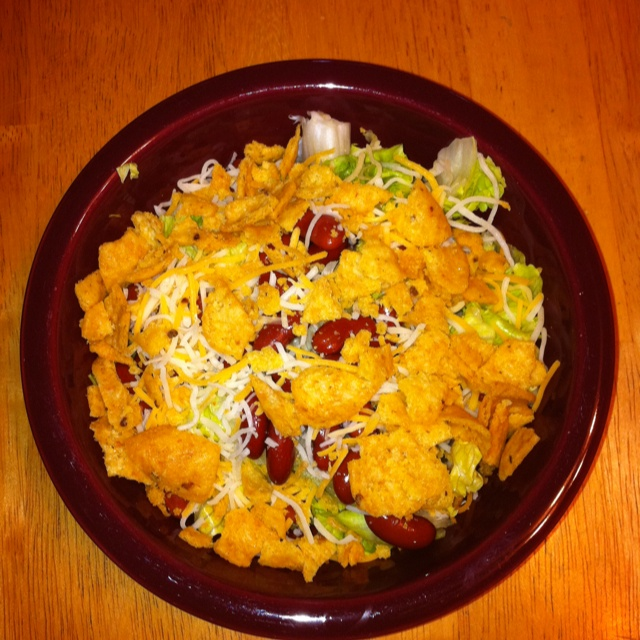 Salad-Chopped lettuce, light red kidney beans, Mexican shredded cheese ...