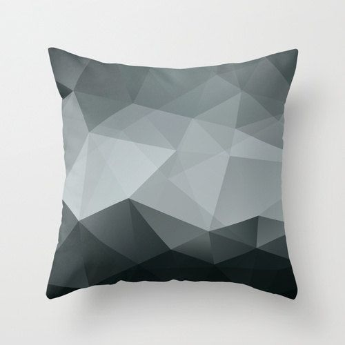 Black And White Geometric Throw Pillows : Geometric Throw Pillow Cover Black and White Modern Polygon Pattern