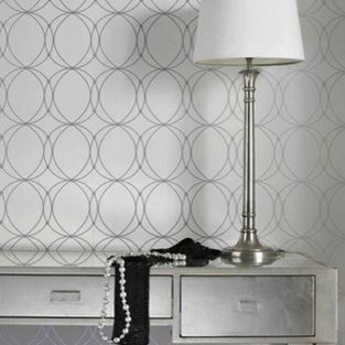 Darcy Wallpaper, White & Silver - This modern circular design would be ...