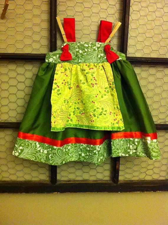 Christmas holiday apron knot dress with ribbon trim size 2t 24 months