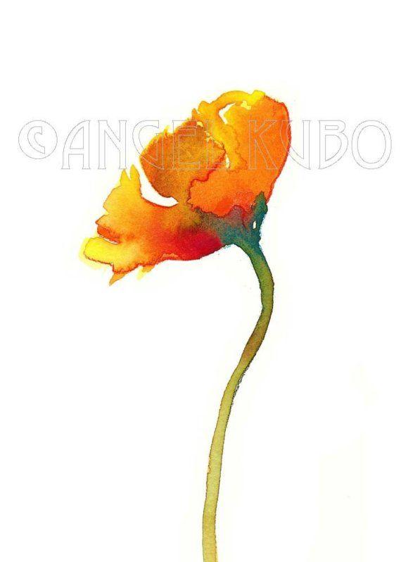Flower orange poppy watercolor painting No.6,. 7x5 inch ...