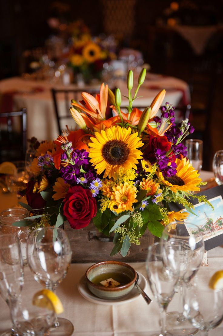 Sunflower Centerpiece Wedding Center Pieces Pinterest