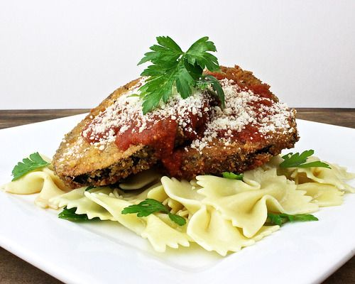 Eggplant Parmesan - Fried eggplant, garlic marinara, farfalle pasta ...
