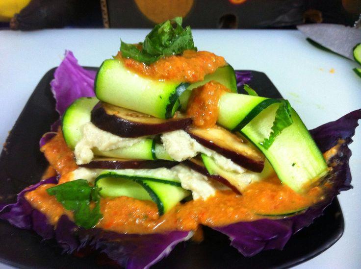 Raw vegan lasagne with raw tomato arrabiata sauce, raw marinated ...
