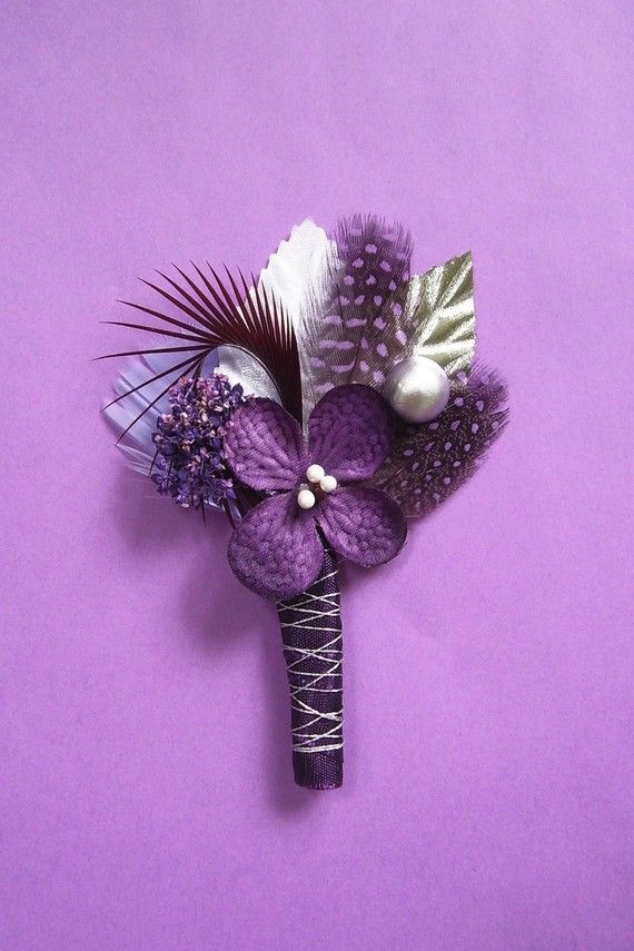 Purple and Silver Boutonniere