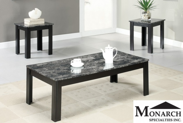 Black Marble 3 Piece Coffee Table Set Ma Home Me Pinterest