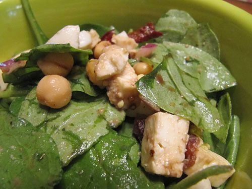 Spinach and Feta Salad with Warm Bacon Dressing #recipe #salad