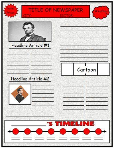 Newspaper Book Report Template