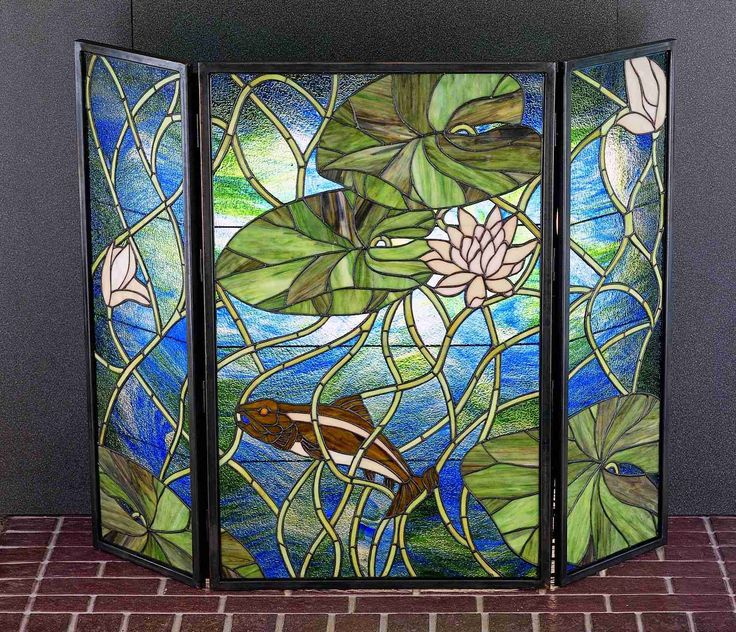 stained glass fireplace screen glass