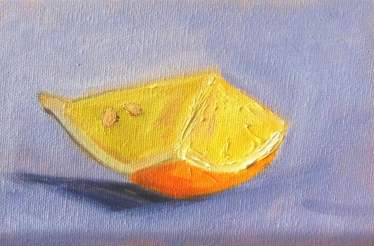 Fruit Oil Painting, Still Life, Original Lemon Slice, 4x6 on Canvas, Miniature Art, Tropical Fruit Painting. $35.00, via Etsy.