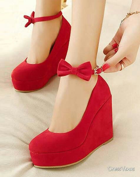 Red wedge shoes love
