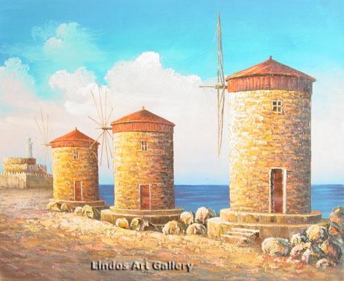 Rhodes Harbor Windmills Oil Painting   Greek Scene Paintings   Pinter ...