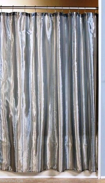 "SILVER / BLUE METALLIC PIN STRIPES FABRIC SHOWER CURTAIN ~ 70"" x 72 ..."