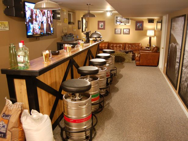 The keg stools is an awesome idea for a Tail Gate Man Cave!