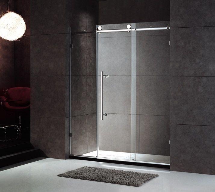 Frameless Shower Door. Rolling Track.