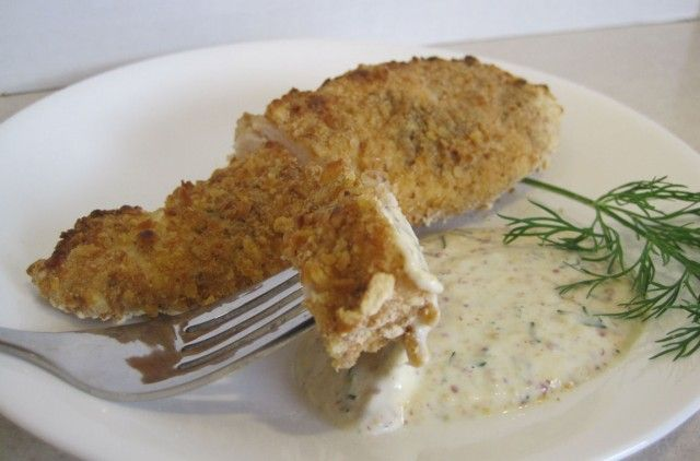 Pretzel-Crusted Chicken With Mustard-Dill Dipping Sauce | Recipe