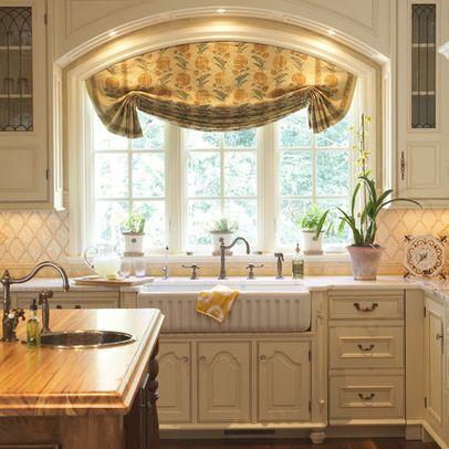 Farm house sink big kitchen windows kitchens pinterest for Large kitchen window