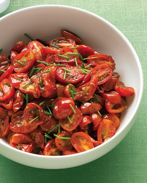 Oven-Roasted Grape Tomatoes with Chives