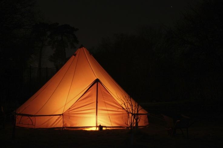 Camping tent at night