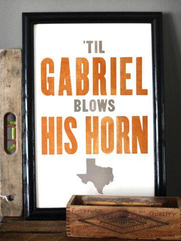 Eyes of Texas - Texas Letterpress Print on Cotton