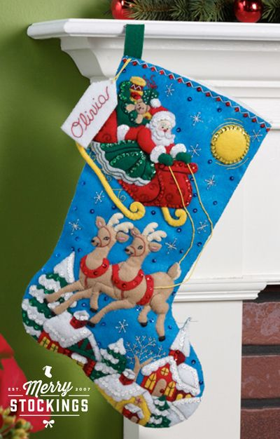 New release Bucilla Christmas stocking kit (available mid-November). Kit entitled Sleigh Ride. MerryStockings will have plenty ready to ship!