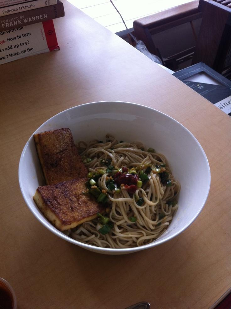 Ginger Scallion Noodles with Tofu from Momofuku #freshdish