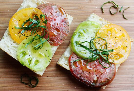 Heirloom Tomato Sandwich. 2 SERVINGS. Size: 2 oz bread with tomatoes ...